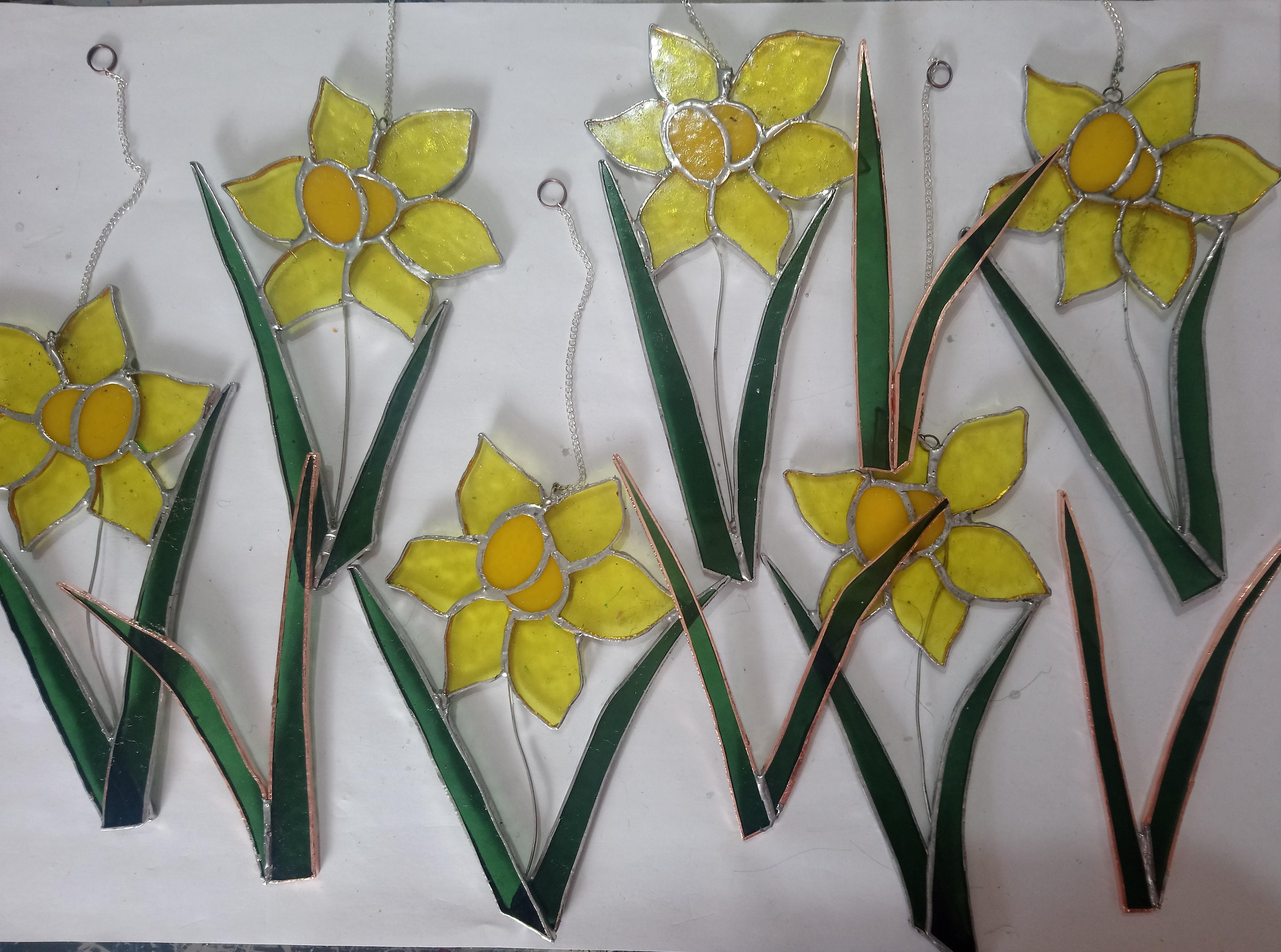 stained glass, welsh, daffodils for St Davids Day