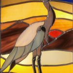 stained glass panel, heron