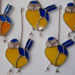 stained glass blue tits, garden birds