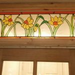 stained glass window panel, daffodils