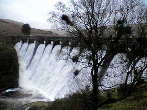 Caban Coch, Elan Valley, Rhayader; 1 of 4 Victorian Dams, overtopping