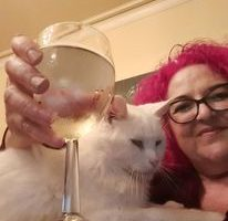 me and Emmett enjoying a glass of wine
